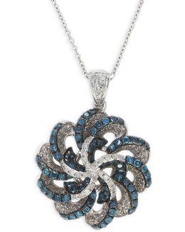 1.16 Tcw Diamond, 14k White Gold Openwork Pendant Necklace