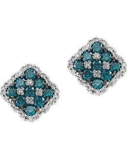 14k White Gold And Blue Diamond Earrings
