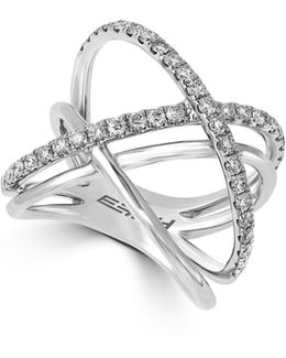 0.79 Tcw Diamond, 14k White Gold Crossover Ring