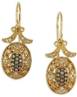 0.46 Tcw Espresso Diamond, 14k Yellow Gold Filigree Earrings