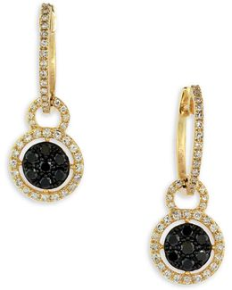 0.66 Tcw Two-tone Diamond, 14k Yellow Gold Disc Drop Earrings
