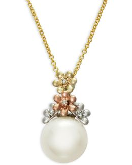 10mm Freshwater Pearl And Diamond 14k Trio Gold Necklace