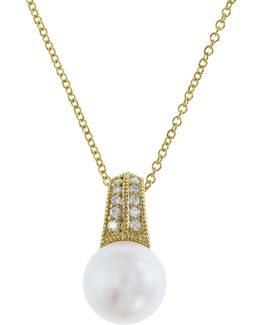 9mm Freshwater Pearl And Diamond 14k Gold Pendant Necklace