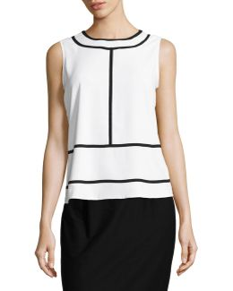 Piped Woven Sleeveless Top