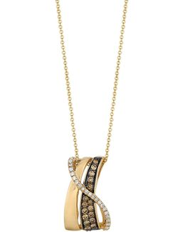 Chocolate And Vanilla Diamonds 14k Yellow And Honey Gold Gladiator Pendant