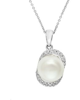 9mm Freshwater Pearl And Diamond 14k White Gold Studded Pendant Necklace