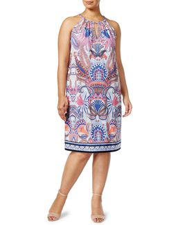 Plus Printed Sheath Dress