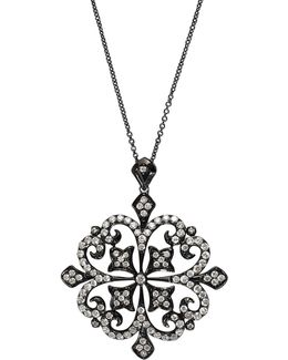 Black Rhodium Finish 14k White Gold Pendant Necklace With 1.31 Tcw Diamonds