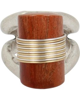 Semi-precious Red Jasper Stone Sculptural Ring