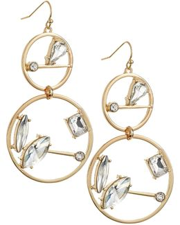 Double Circle Drop Stone Earrings