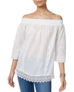 Off-the-shoulder Lace Peasant Top