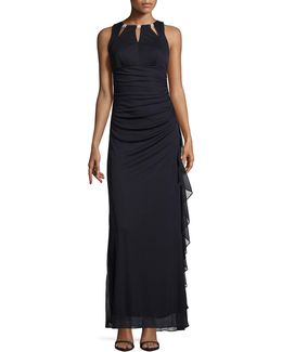 Embellished Cut-out Ruched Gown