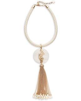 Disc Tassel Pendant Necklace