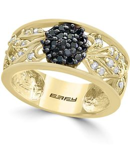 14k Yellow Gold And 0.48tcw Black Diamond Ring