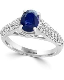 14k White Gold Sapphire And 0.40tcw Diamond Ring