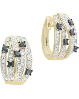 14k Yellow Gold Studded Huggie Hoop Earrings With 0.8 Tcw White And Black Diamond