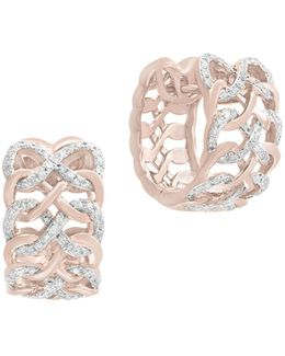 14k Rose Gold Studded Loop Huggie Hoop Earrings With 0.48 Tcw Diamonds