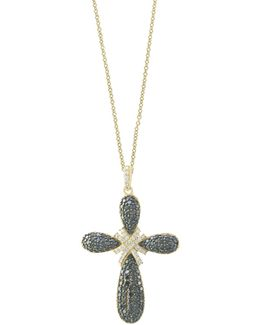 14k Yellow Gold Studded Cross Pendant Necklace With 1.4 Tcw White And Black Diamonds
