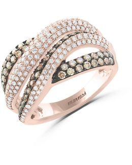 14k Rose Gold Studded Crisscross Ring With 1.25 Tcw White And Espresso Diamonds