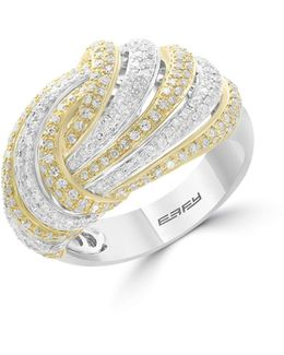 14k White And Yellow Gold Studded Knot Ring With 1.12 Tcw Diamonds