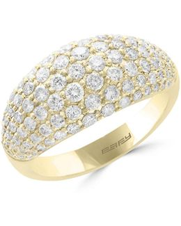 14k Yellow Gold Studded Ring With 1.37 Tcw Diamonds