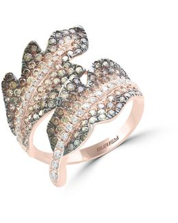14k Rose Gold Studded Leaf Ring With 1.63 Tcw White And Espresso Diamonds