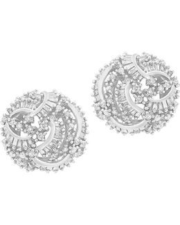 1.43 Tcw Diamond 14k White Gold Stud Earrings