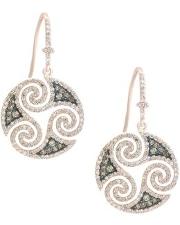 14k Rose Gold Studded Swirl Hook Earrings With 1.48 Tcw White And Espresso Diamonds