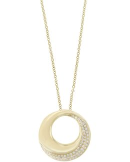 14k Yellow Gold Circle Pendant Necklace With 0.26 Tcw Diamonds