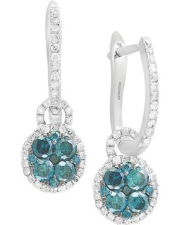 1.23 Tcw White And Blue Diamond 14k White Gold Studded Drop Earrings