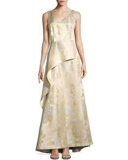 Metallic Floral A-line Gown