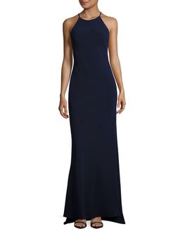 Halter Crepe Fit-and-flare Gown