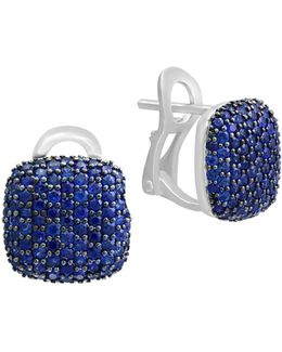 Sapphire And 14k White Gold Stud Earrings