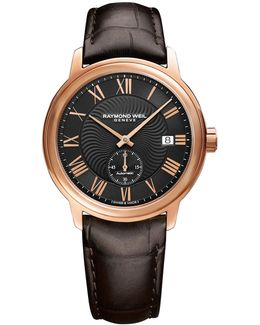 Analog Maestro Rose Gold Pvd Leather Watch
