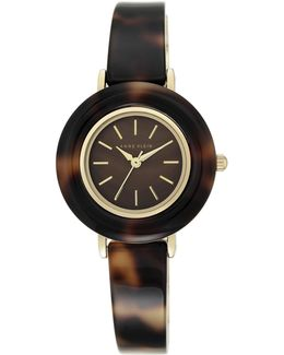 Tortoise Case And Bangle Analog Lucite Watch