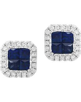 0.2 Tcw Diamond And Sapphire 14k White Gold Stud Earrings