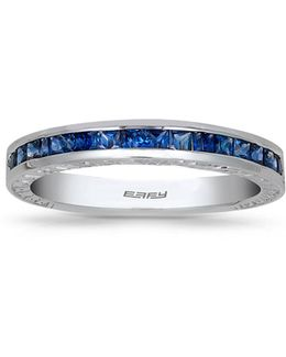 Sapphire 18k White Gold Studded Band Ring