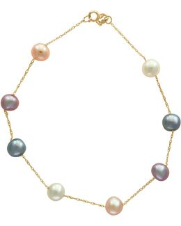 5.5mm Multi Freshwater Pearl And 14k Gold Bracelet
