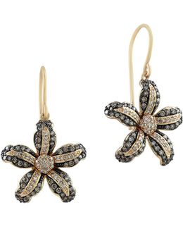 0.89 Tcw White And Espresso Diamond 14k Yellow Gold Flower Hook Earrings