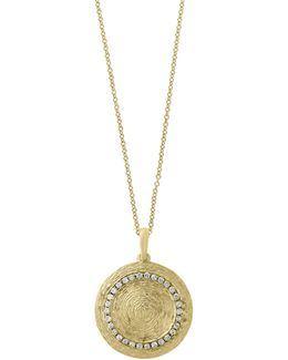 0.22 Tcw Diamond 14k Yellow Gold Textured Medallion Pendant Necklace