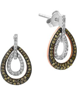 0.47 Tcw White And Espresso Diamond 14k White And Rose Gold Teardrop Earrings
