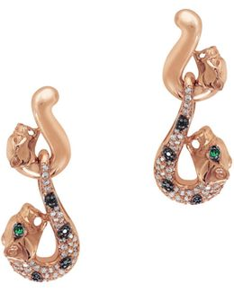 0.3 Tcw White And Black Diamond And Emerald 14k Rose Gold Puma Drop Earrings