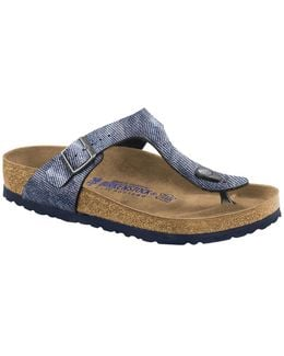 Denim Finish Leather Thong Sandals