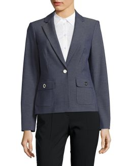 Stretch Twill Blazer With Grommet Detail