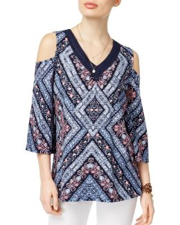 Cold Shoulder Crochet-trim Top