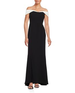 Contrast Off-the-shoulder Gown