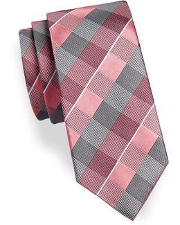 Mixed Check Silk Blend Tie