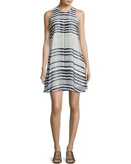 Striped Inverted Pleat Dress
