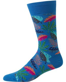 Leaves Print Crew Socks