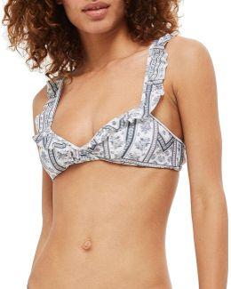 Floral Stripe Bikini Top